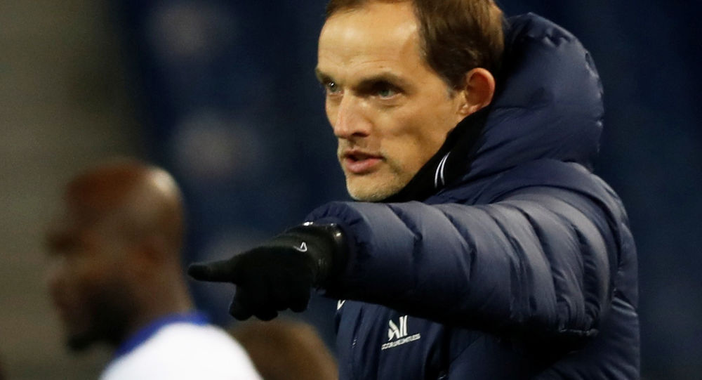 FILE PHOTO: Soccer Football - Ligue 1 - Montpellier v Paris St Germain - Stade de la Mosson, Montpellier, France - December 5, 2020 Paris St Germain coach Thomas Tuchel reacts
