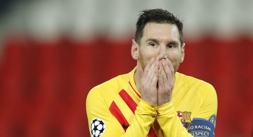 Barcelona's Lionel Messi reacts after a missed a penalty shot during the Champions League, round of 16, second leg soccer match between Paris Saint-Germain and FC Barcelona at the Parc des Princes stadium in Paris on Wednesday, March 10, 2021
