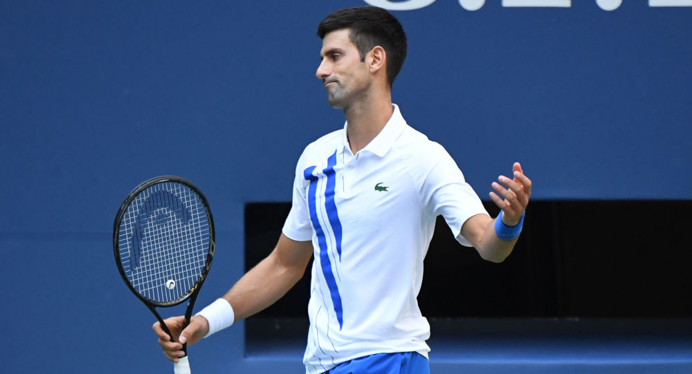Sep 6, 2020; Flushing Meadows, New York, USA; Novak Djokovic of Serbia reacts after losing a point against Pablo Carreno Busta of Spain (not pictured) on day seven of the 2020 U.S.