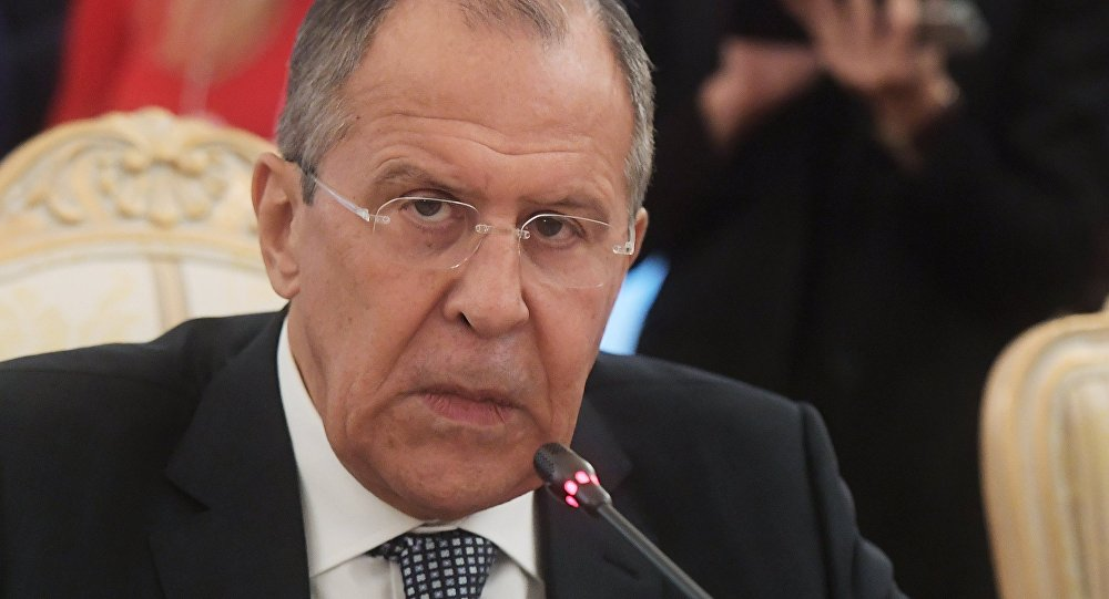 Russian Foreign Minister Sergei Lavrov in Moscow at a meeting with French Foreign Affairs and International Development Minister Jean-Marc Ayrault.