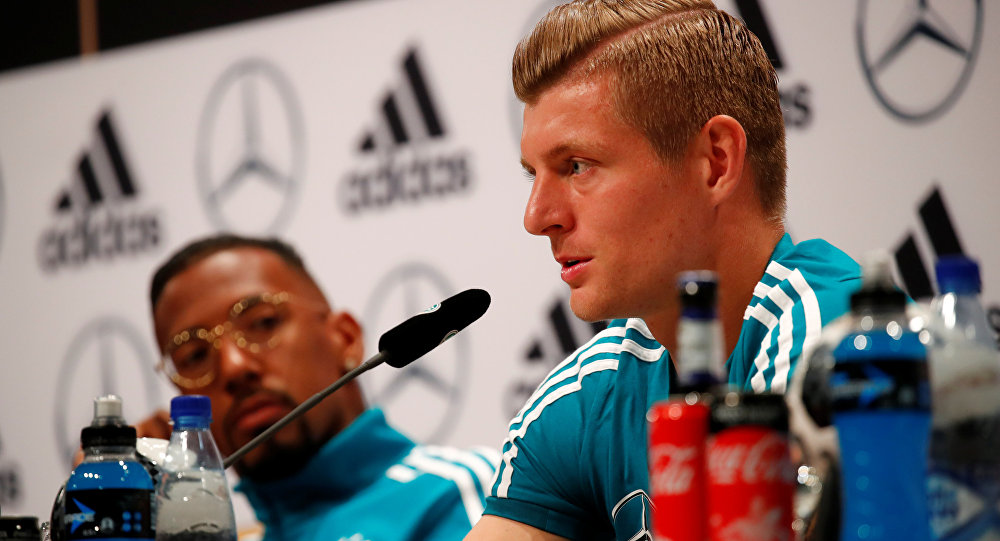 Soccer Football - World Cup - Germany Press Conference - Germany Training Camp, Moscow, Russia - June 14, 2018 Germany's Jerome Boateng and Toni Kroos during the press conference