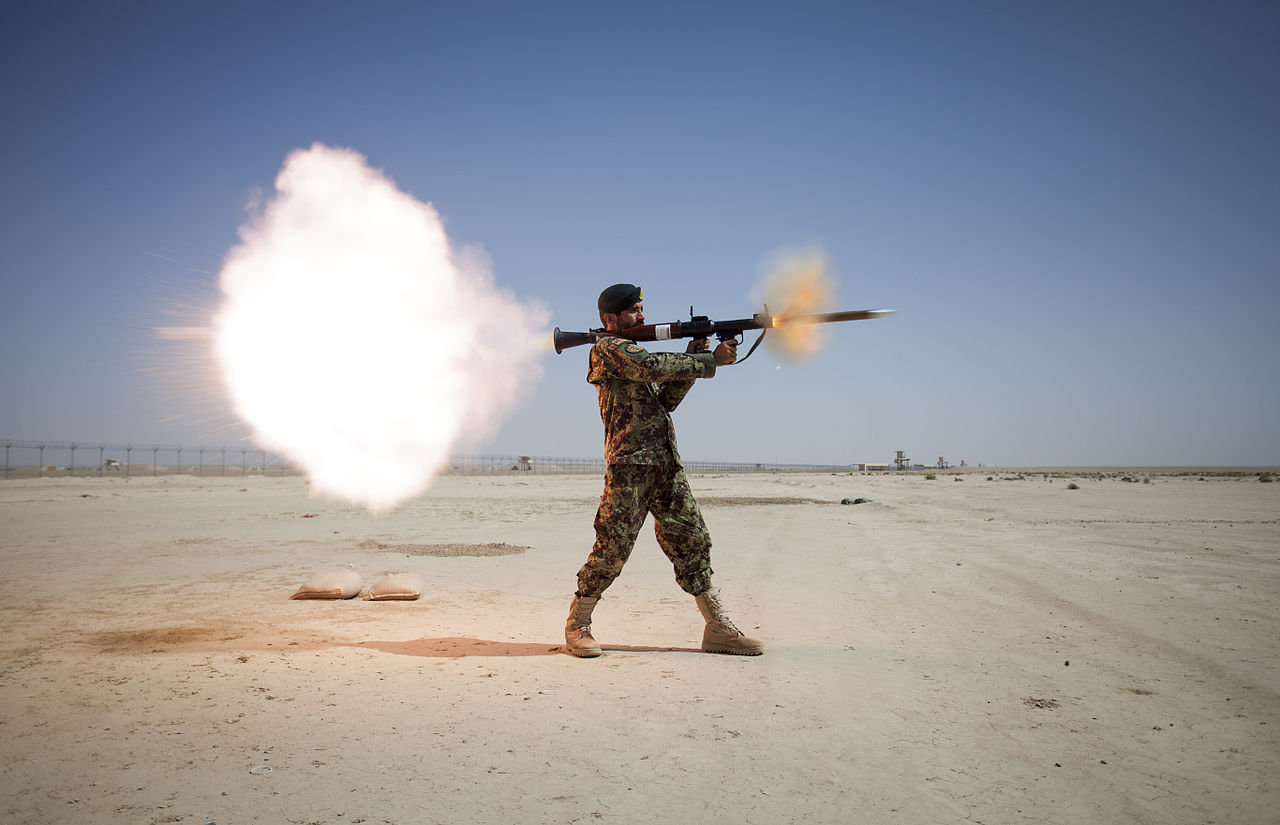 Afghan National Army soldier firing an RPG-7