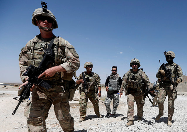 US troops patrol at an Afghan National Army (ANA) Base in Logar province, Afghanistan