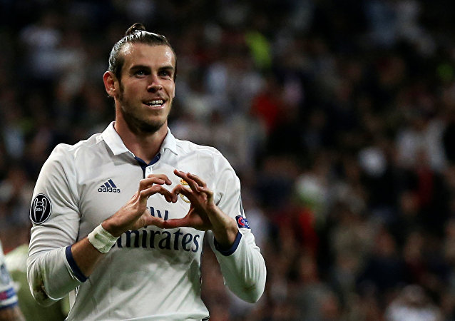 UEFA Champions League - Santiago Bernabeu stadium, Madrid, Spain, 18/10/16 Real Madrid's Gareth Bale celebrates after scoring a goal.