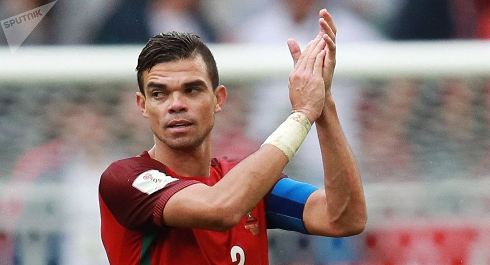 Portugal's Pepe celebrates his team's victory in the 2017 FIFA Confederations Cup third-place match between Portugal and Mexico. File photo