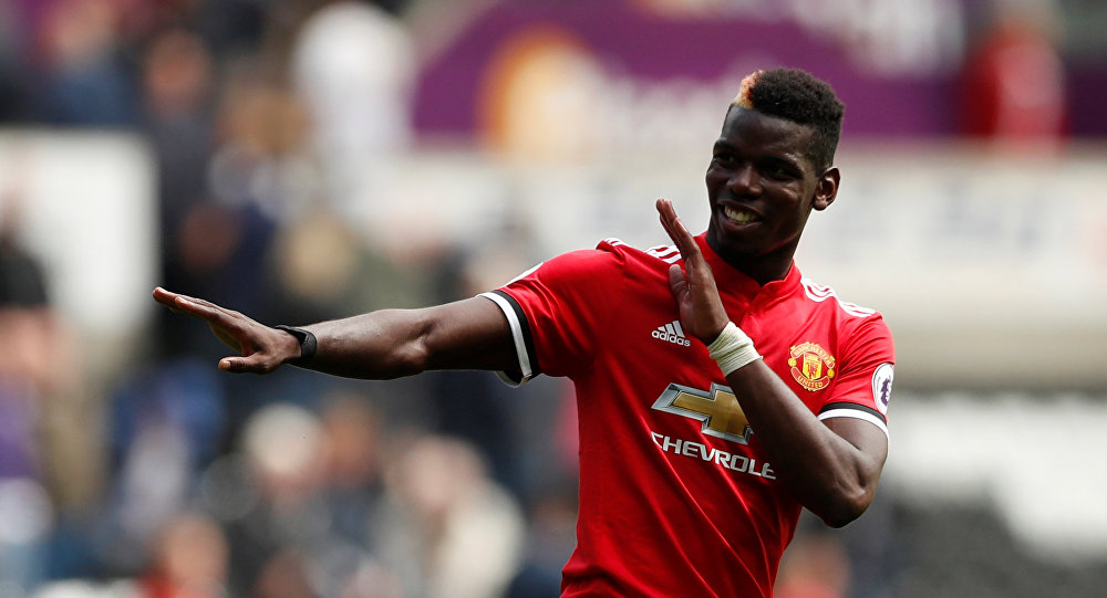 Football Soccer - Premier League - Swansea City vs Manchester United - Swansea, Britain - August 19, 2017 Manchester United's Paul Pogba celebrates after the match