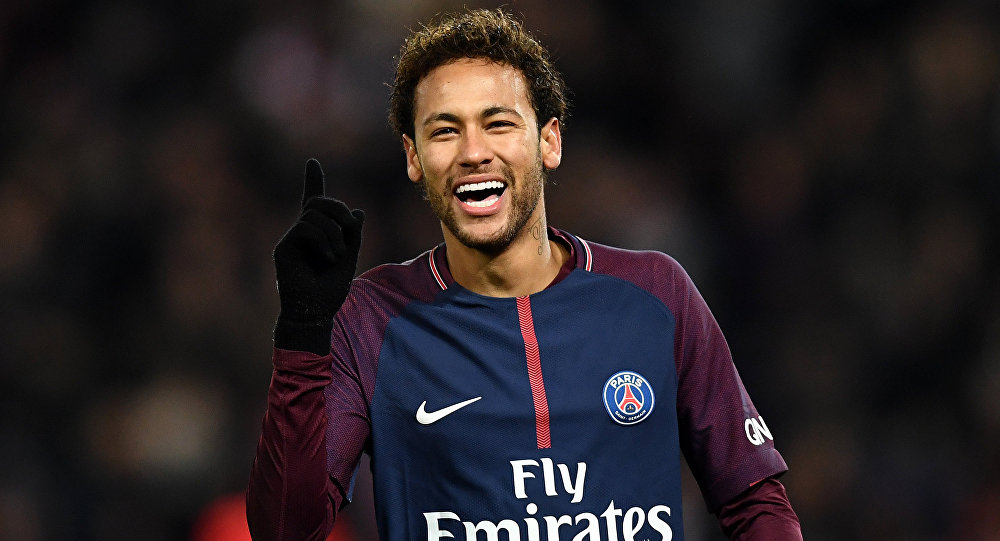 (FILES) In this file photo taken on January 27, 2018 Paris Saint-Germain's Brazilian forward Neymar reacts during the French L1 football match between Paris Saint-Germain (PSG) and Montpellier (MHSC) at the Parc des Princes stadium in Paris