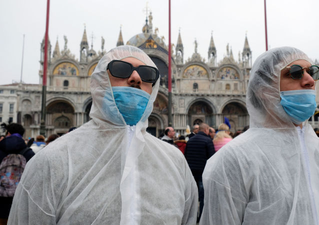 Tourists at Venice Carnival in Venice