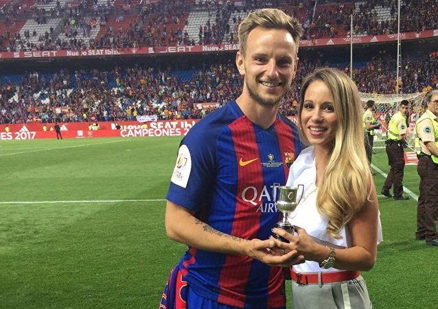 Ivan Rakitic with his wife Raquel Mauri