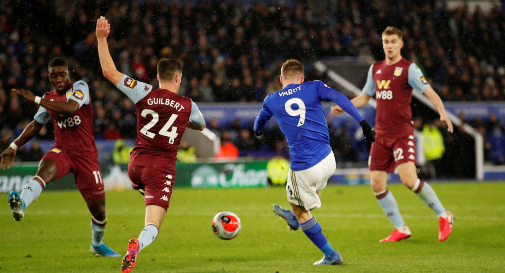 Leicester's Jamie Vardy scores in the 4-0 win against Aston Villa, the last Premier League game before coronavirus forced games to be called off